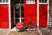 Sightseeing Digital Art Originals - Amsterdam with bike in Holland by Tomas Marek