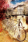 European Capital Digital Art Metal Prints - Amsterdams Bikes Metal Print by Andrea Barbieri