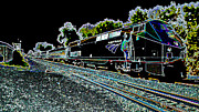 Passenger Mixed Media Prints - Amtrack Neon Train Print by Dennis Dugan