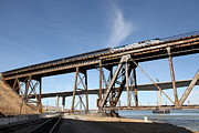 Amtrak Train Riding Atop The Benicia-martinez Train Bridge In California - 5d18775 Print by Wingsdomain Art and Photography
