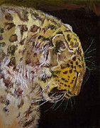 Leopard Face Prints - Amur Leopard Print by Michael Creese