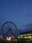 Ferris Wheel Night Photographs Posters - Amusement Park At Night Poster by Guy Ricketts