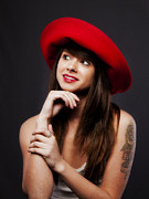 Composite Photographs Framed Prints - Amy and The Red Hat Framed Print by Chuck Caramella