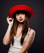 Hdr Photos - Amy and the Red Hat Number 2 by Chuck Caramella