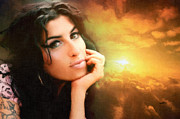 Award Digital Art Metal Prints - Amy Winehouse Metal Print by Anthony Caruso