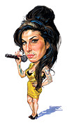 Art  Prints - Amy Winehouse Print by Art