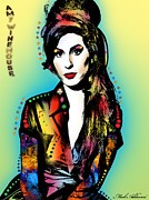 Female Legends Digital Art Prints - Amy Winehouse Print by Mark Ashkenazi
