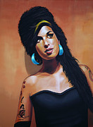 Songwriter  Painting Framed Prints - Amy Winehouse Framed Print by Paul  Meijering