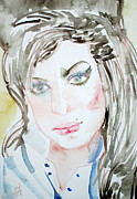 Singer Paintings - AMY WINEHOUSE watercolor portrait by Fabrizio Cassetta