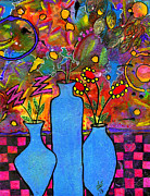 Vases Mixed Media Posters - An Abstract Still Life Poster by Angela L Walker