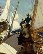 Old Sailing Ship Paintings - An Afternoon at Sea  by Albert Lynch