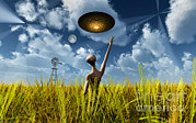 Ufology Framed Prints - An Alien Being Directing Its Spacecraft Framed Print by Mark Stevenson
