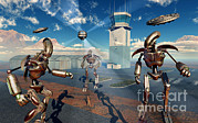 Control Towers Prints - An Alien Being With Giant Robots Print by Mark Stevenson