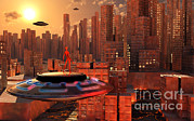 Industrial Concept Digital Art Prints - An Alien Race Migrating Print by Mark Stevenson
