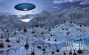 An Alien Reptoid Being Signaling Print by Mark Stevenson