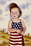 Child Paintings - An All American Girl Named Ireland by Sam Sidders