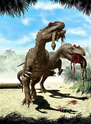 Food Chain Digital Art Posters - An Allosaurus And A Hypsilophodon Find Poster by Yuriy Priymak
