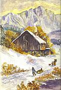 Sunset Greeting Cards Drawings Posters - An Alpine Christmas I Poster by Carol Wisniewski
