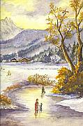 Swiss Alps Drawings - An Alpine Christmas II by Carol Wisniewski