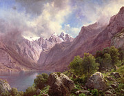 Karl Paintings - An Alpine Lake by Karl Millner