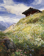 Log Cabin Art Metal Prints - An Alpine Meadow Switzerland Metal Print by John  MacWhirter