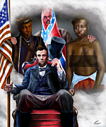President Lincoln Paintings - An American Family Portrait by Reggie Duffie