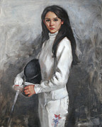 Fencing Paintings - An American Fencer Portrait of Lee Kiefer 2012 US Olympic Womens Fencing Team by Chris  Saper
