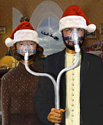 Funny Art Posters - An American Gothic Sleep Apnea Merry Christmas Poster by Mike McGlothlen