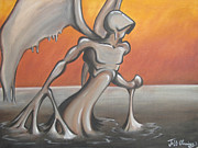 Oil Slick Painting Prints - An Angel out of Oil Print by Jeffrey Oleniacz