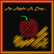 Symmetrical Design Prints - An Apple A Day Print by Barbara Snyder