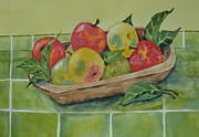 Wooden Bowl Paintings - An Apple a Day by Carol Bruno