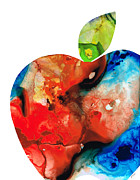 Pear Art Mixed Media Prints - An Apple A Day - Colorful Fruit Art By Sharon Cummings  Print by Sharon Cummings