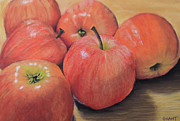 Food And Beverage Pastels Originals - An Apple a Day by Joanne Grant
