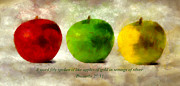 Bible Mixed Media Framed Prints - An Apple A Day With Proverbs Framed Print by Angelina Vick