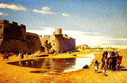Vintage Posters Art - An arab caravan outside a fortified town egypt by MotionAge Art and Design - Ahmet Asar