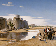 Flood Painting Posters - An Arab Caravan outside a Fortified Town Poster by Jean Leon Gerome