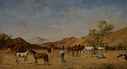 Arabian; Arabia; Middle East; Middle Eastern; Landscape; Desert; Horses; Horse; Mountains; Mountainous; Arid; Wilderness; Camp; Encampment; Travel; Travellers; Tent; Tents; Journey Framed Prints - An Arabian Camp Framed Print by Eugene Fromentin