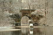 New England Snow Scene Prints - An Arched Stone Bridge Print by Linda  Jackson