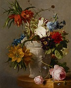 Still Lives Paintings - An Arrangement with Flowers by Georgius Jacobus Johannes van Os