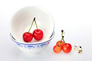 Glass Wall Prints - An Artist painting cherries miniature art Print by Paul Ge
