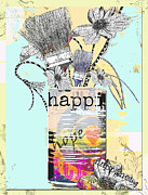 Hippie Mixed Media Posters - An Artists Vase Poster by Anahi DeCanio