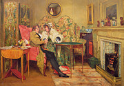 Home Chat Framed Prints - An Attentive Visitor Framed Print by Walter Dendy Sadler