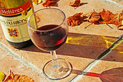 Grape Vineyard Posters - An Autumn Glass of Red Poster by Georgia Fowler