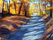 New England. Pastels Prints - An Autumn Walk in the Woods Print by Lenore Gaudet