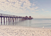 Gulf Breeze Posters - An Early Morning - Naples Pier Poster by Kim Hojnacki