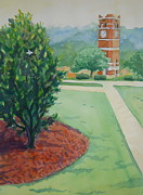 Western Carolina University Posters - An Early Walk To The Belltower Poster by Sheena Kohlmeyer