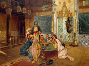Oriental Rug Prints - An Eastern Meal Print by Rudolphe Ernst