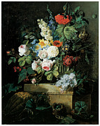Redoute Paintings - An Elaborate Still life of Flowers by Pierre-Joseph Redoute