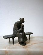 Figurine Sculpture Framed Prints - An elderly woman on a bench Framed Print by Nikola Litchkov
