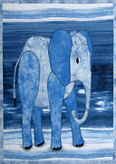 Blue Art Tapestries - Textiles Prints - An Elephant Named Porter Print by Jean Baardsen